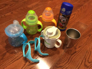 Baby Bottles with Handles and cups with straws - Some Brand New!