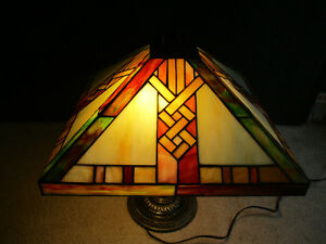 Art Deco Tiffany  STYLE Stained Glass Lamp--2 Way