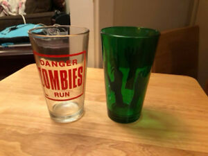16oz size zombie drinking glasses. NEVER USED