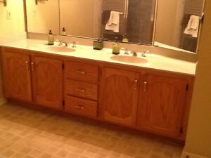 SOLID OAK BATHROOM VANITY, MARBLED COUNTER AND FAUCETS