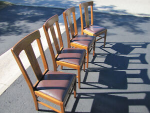 4 Antique Wood and Leather Chairs