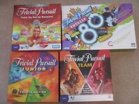 Trivial Pursuit Board Games for Sale - 4 different versions
