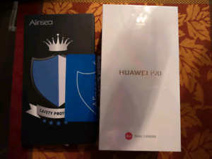 Huawei P20. Never opened. Screen protector incl