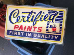 VINTAGE CERTIFIED PAINTS FIRST IN QUALITY ADVERTISING LIGHT