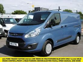 2013 FORD TRANSIT CUSTOM 290/125 TREND LWB IN STRATOSPHERE BLUE WITH ONLY 24.000