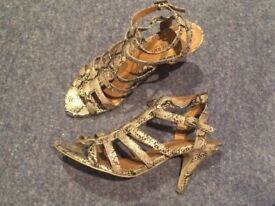 Ladies Marco Tozzi Snakeskin Strappy Gladiator Style Sandals EUR 40
