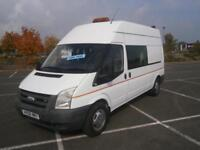 2008 08 FORD TRANSIT 2.4 TDCI 115PS 350 LWB CREW DOUBLE CAB DAY VAN MESS UNIT