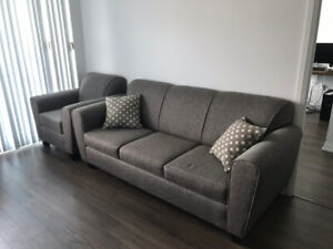 3 Seater Grey Sofa/Couch Bed + 1 Seater + 2 Pillows