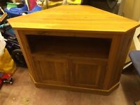 Solid oak unit corner tv cabinet stand