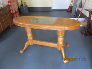 Sofa Table/Entrance table- Solid Oak w/ glass inlay