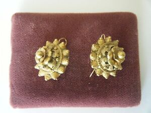Victorian Etruscan Revival Earrings Brass  Earrings