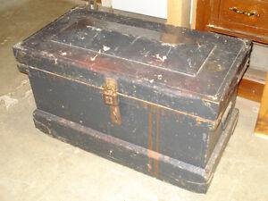 Antique tool box in black paint