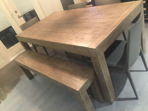 Urban barn post & rail dining table & bench