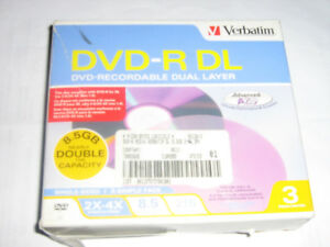 dvd-r dl reinscriptible verbatim paquet de 3