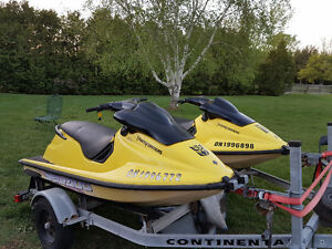 2 seadoo xp on trailer