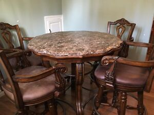 Marble Top Dining Set 5pc