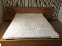 Ikea Malm Oak King Size Bed Frame + 2 Bedside Tables + Mattress