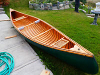 """15'5"""" Huron wood & canvas canoe"""