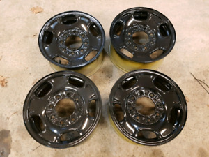 "17"" 8 lug bolt pattern steel wheels fresh paint"
