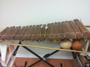 Full size African Belafon with double braced keyboard stand.