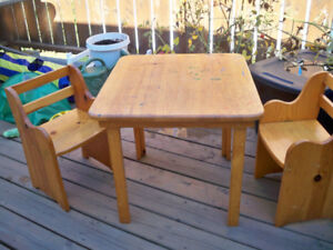 childs table and 2 chairs