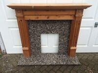Beautiful Solid Granite & English Pine Fireplace