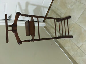 Men's solid mahogany suit rack with compartment for storage