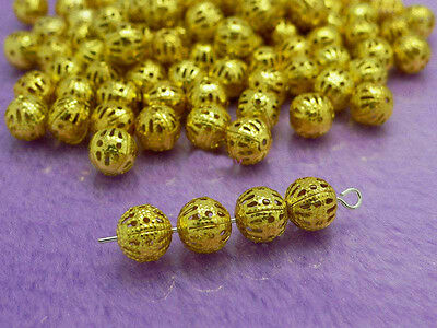 wholesale 100 Pcs Gold Plated Metal Hollow Flower Ball Spacer Beads 10mm