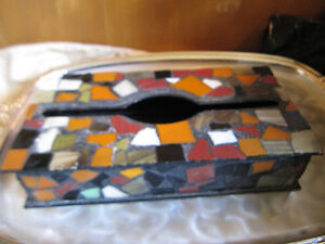 Kleenex Tissue Box Cover Holder Mosaic Stained Glass Handmade