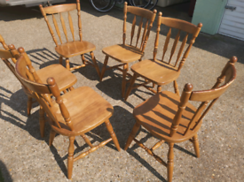 6 X solid country pine dining chairs, local delivery possible