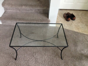 wrought iron and glass end table/coffee table