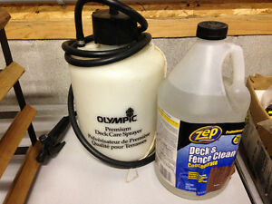 Olympic deck sprayer and a full jug of concentrate.