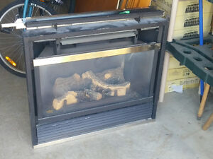 gas fireplace and oak mantle