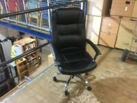 Brand new black leather swivel chair