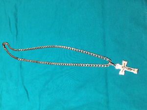 White Gold 10k Men's Necklace with Cross