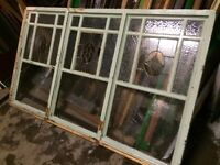 SOLID TIMBER & STAINED GLASS VINTAGE WINDOW SECTION