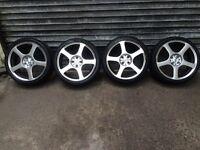"""17"""" Kahn alloy wheels & tyres 4x100 pcd polo, Clio, corsa, astra, mini, mx5"""