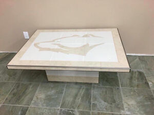Handmade custom tiled table w/ bear head`