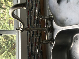 Beautiful brushed nickle kitchen faucet