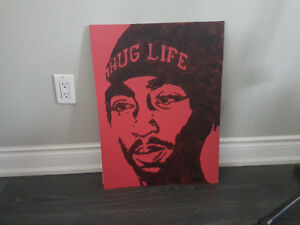 Hand-painted Tupac Thug Life 18 X 24 black on red