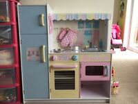 Lovely wooden play toy kids childrens kitchen plus accessories.