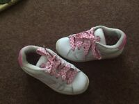 White and pink heelys size 1