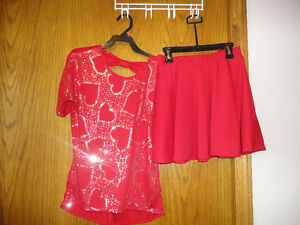 Girls Size 10/12 Christmas or Formal Skirt & Top