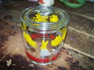 Mid-Century Anchor Hocking Glass Canister Storage Jar Bunny Lamb