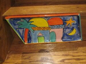 Hand- Painted Decorative Rectangular Platter by Fiona Collins