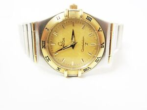 """Omega """"Constellation"""" Two-Tone Solid 18K Gold Ladies Watch"""