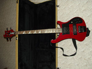 Red Rickenbacker Bass Copy with Black Hardware