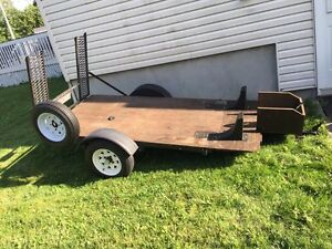 Trailer remorque 8x4 with ramp gate and new spare  tire