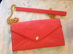 Rebecca Minkoff Blush Pink Suede Wallet on a Chain Bag Purse