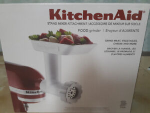 Meat grinder attachment for Kitchen Aid mixer.